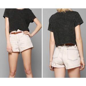 BDG High Rise Cream Roll Up Jean Denim Shorts
